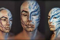 Representación artística de la ciencia y el arte en el maquillaje.